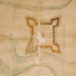 Отчетный чертеж о итогах работ 1701 года по строительству крепости, который подал в Москве воевода боярин князь А.П. Прозоровский (из фондов РГАДА)